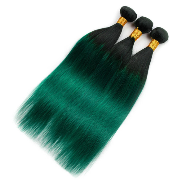 """#1B/Green Black Roots Ombre Indian Human Hair Bundles Dark Green Ombre Virgin Indian Human Hair Weave Bundles Double Wefts 10-30"""""""
