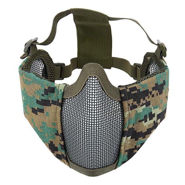 Meia face nova camuflagem malha de aço com proteção de orelha menor face floresta protetora