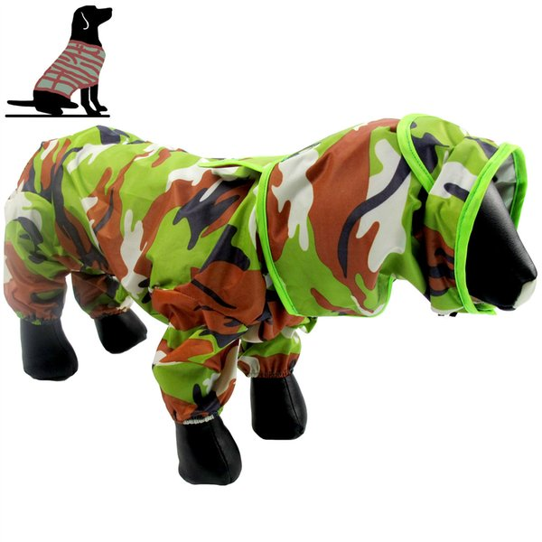 Pets Four Foot Camouflage Raincoat Small Middle Large Dogs Teddy Puppy Doggie Full Package Raincoat Wholesale