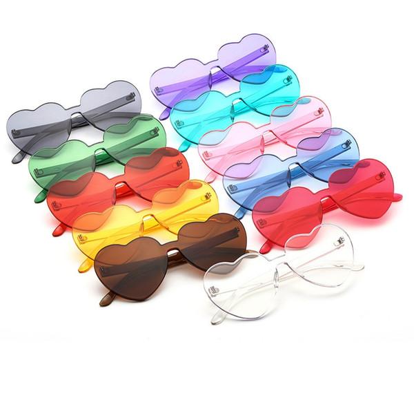 11 estilo atractivo en forma de corazón gafas de sol mujeres accesorios encantadores coloridos claros sin montura gafas de sol del marco MMA2061