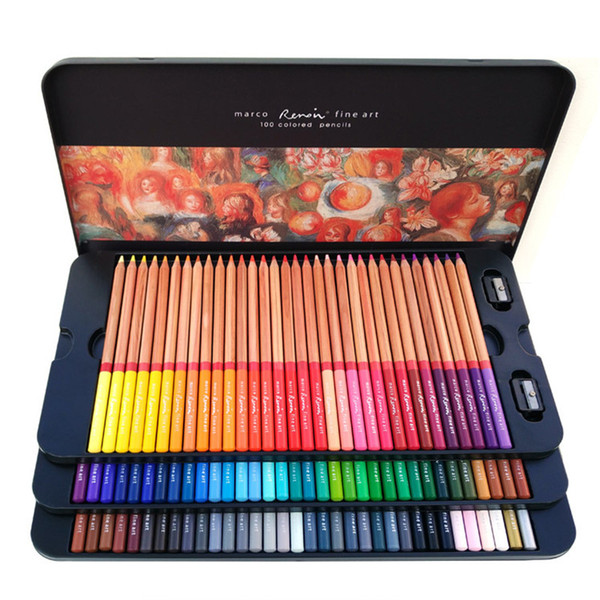 best selling Marco Renoir 24 36 48 72 100 Colors Pencil Set Painting Pens with boxes profesionales Crayons Colouring Drawing Pencils Set Wholesale