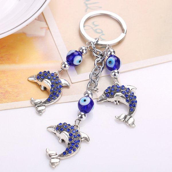 fashion evil eye animal lucky crystal lucky bag purse keychain car keyrings women charm lovely accessory creative novelty gifts, Silver