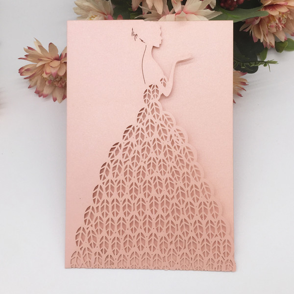 Beauty Girl With Pearl Paper Wedding Invitation Cards Sweet Happiness Engagements Bridal Shower Gift Cards Supplies Wedding Invitations Sample Wedding