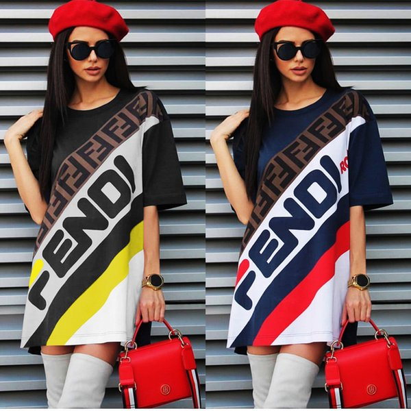 Women T-Shirt Dress F Letter Printed Sports Skirt Summer Loose Short Sleeve T shirts Long Tee Fashion Striped Short Skirt Boutique C436