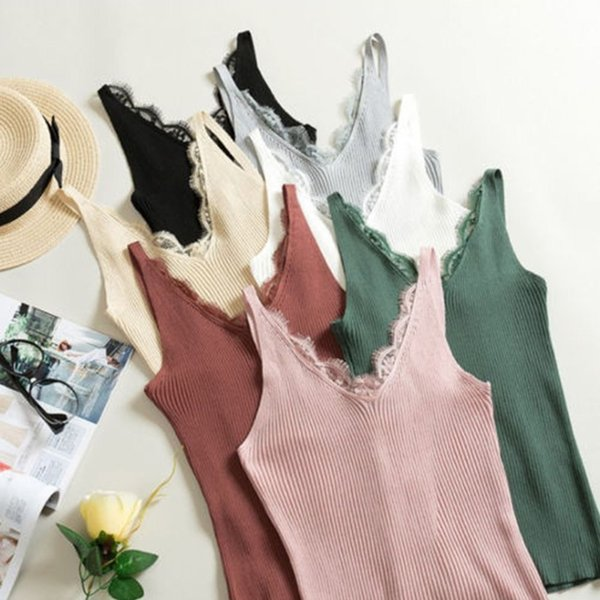 Knitted Spring Tank Tops New Hook Flower Lace Solid Stitching V-neck Camis Female Slim Outer Wear Shirt Trend Hot