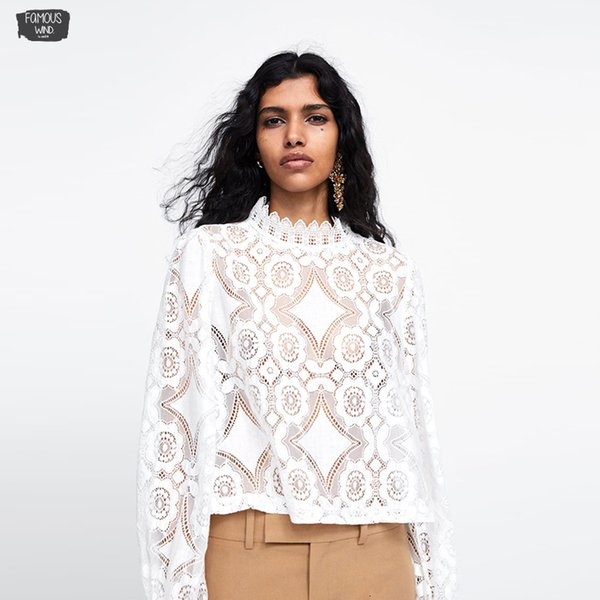 2019 New Lace Summer Petal Sleeve Laced Blouses Sweet O-Neck White Fashion Blouses Ladies Casual Shirts