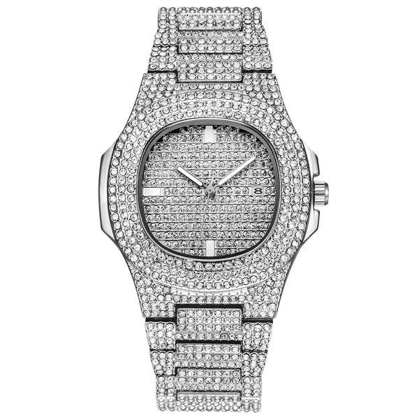 Hip Hop Bling Diamond Watch For Men Silver Stainless Steel Band Men's Business Quartz Watches Man Waterproof Relogio Masculino drop shipping