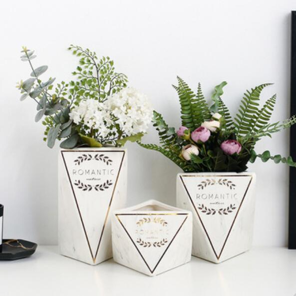 Nordic creative home living room geometry diamond print vase dried flowers fake flower ceramic table decoration small ornaments