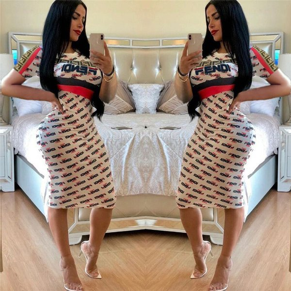 Summer F Letter Printed Women Bodycon Dresses Short Sleeve Dress Knee Length Skirts Night Club Clothes S-XL new C41501