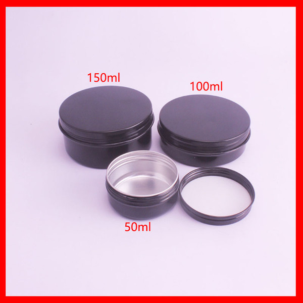 50/100/150ml black aluminum jar/metal cream jar aluminum tin metal cosmetic container for cream  gel use 100pcs/lot