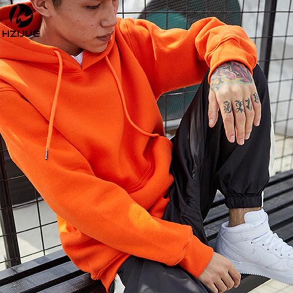 Hombres de la marca Naranja Primavera Otoño Sudaderas con capucha casuales Sudaderas para hombres Manga larga Sudadera con capucha de color sólido Hombre Algodón puro