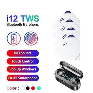 top popular Free Shipping i12 tws Earbuds Wireless Bluetooth Earphones for android Bluetooth Headset v5.0 Headphones with magnetic i7i7Si9si100i11 2020