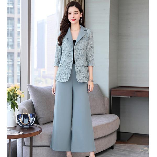 Kadın takım elbise yeni kadın ince kruvaze dantel elbise iki parça (ceket + pantolon) kadın moda iş rahat takım elbise