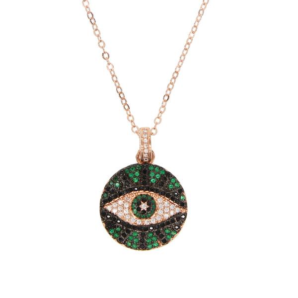 2019 joyería de moda de verano moneda redonda disco grabado turco mal de ojo encanto de las mujeres de oro rosa de color geométrico collar de moda