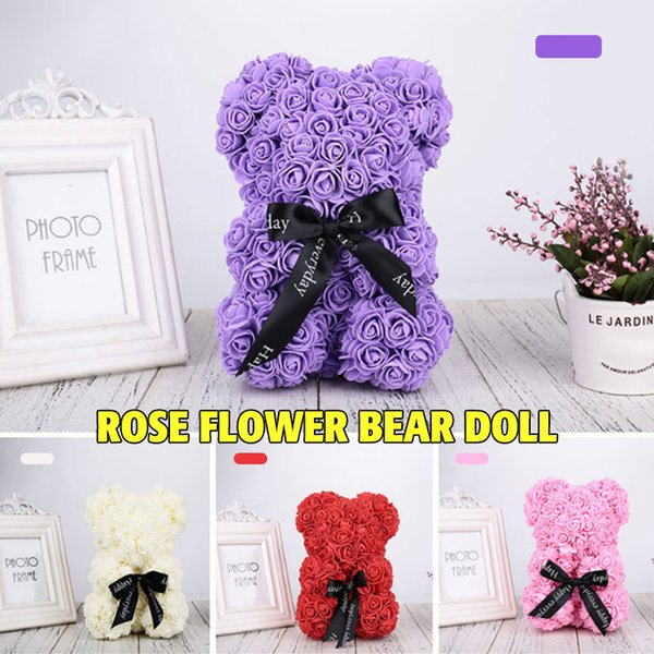 pe bear dolls girlfriend wedding lovely artificial rose simulated romantic birthday rose bear decorations valentine's day gift