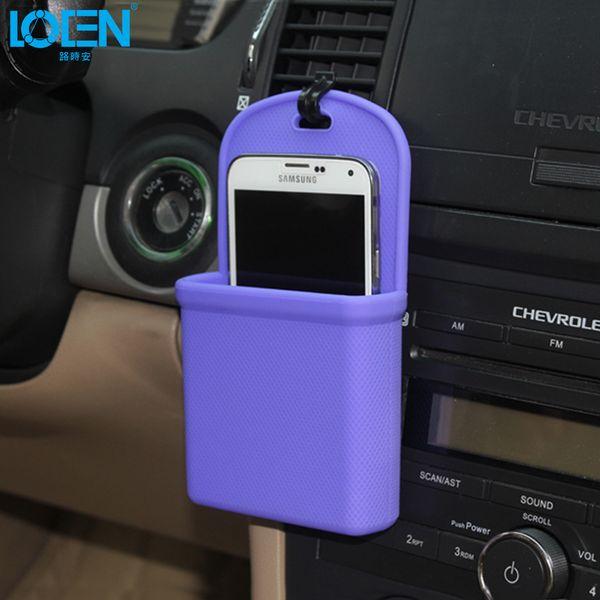 car organizer LOEN 1PC silica gel Waterproof car air outlet Hanging phone bag coin wallet pouch Portable storage box Organizer