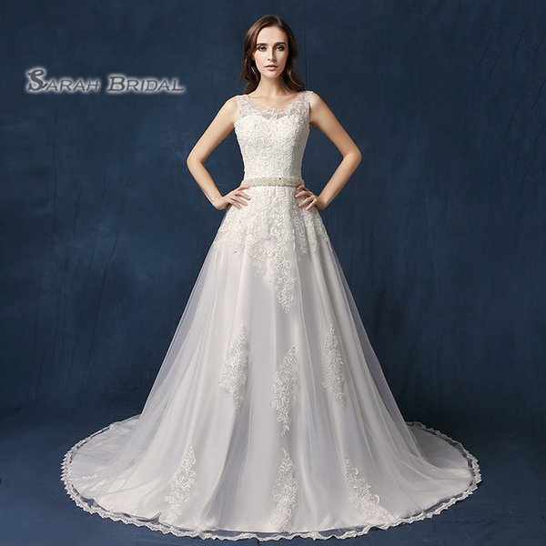 Длинные честные атласные аппликации A-Line 2019 сексуальное кружевное свадебное платье Vestidos De Festa SQS06