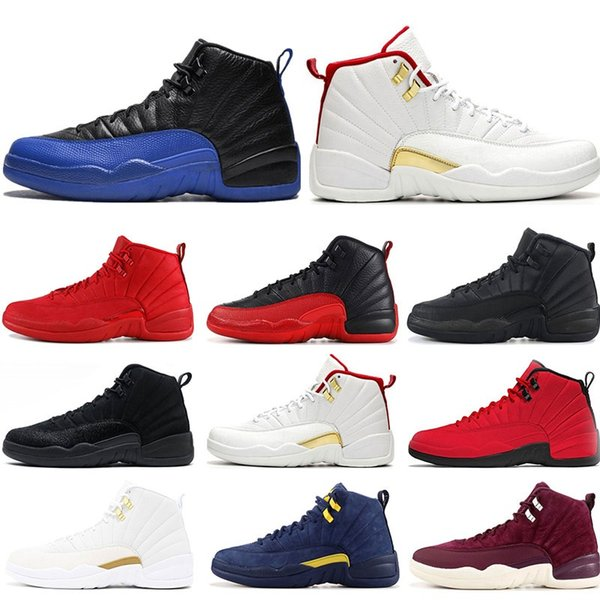 2019 chaussures de basket-ball 12s FIBA Jeu Royal GYM ROUGE WNTR BLEU FRANÇAIS MICHIGAN jeu de la grippe NYLON baskets de sport formateurs Athlétisme taille 7-13