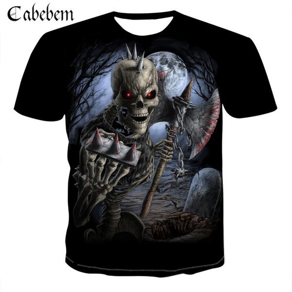 New Men's Skull T-shirt Punk Rockwear 3D Print T-shirt Hip-hop Men's Clothing 2019 Summer Top
