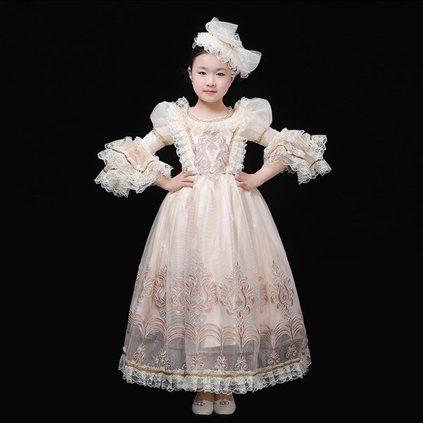 18th Century Beige Flare Sleeve Rococo Baroque Ball Gowns Halloween Children Masquerade Party Dress Costume