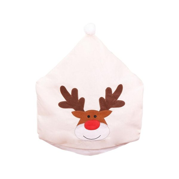 non-woven elk embroidery chair set rice white dining christmas chair cover christmas table decoration ornaments