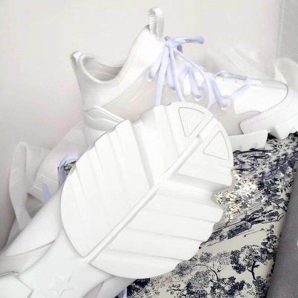 Новый Сезон Дизайнерская Обувь Мода Женская Обувь Кожа Кружева Платформа Негабаритных Подошва Кроссовки Белый Черный Повседневная Обувь L22