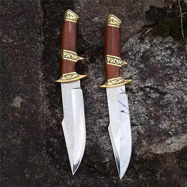 Cuchillo de caza recto de supervivencia de calidad superior al aire libre 8Cr13Mov Satin Blade Rosewood + Copper Head Handle Cuchillos de hoja fija