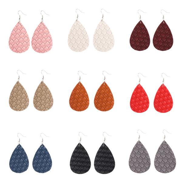 bohemian printing weaving grain waterdrop shape pu leather earrings dangle teardrop ear hook ear stud women jewelry gifts 9colors