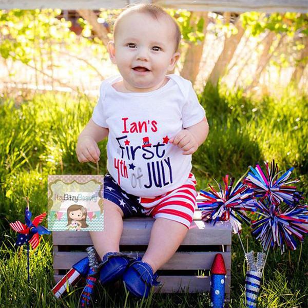 Yenidoğan Yürüyor bebek Kız bebek Erkek Çocuk Romper Şort Amerikan Bağımsızlık Günü Giysileri Dördüncü Temmuz Amerikan Bayrağı Kıyafetler B11