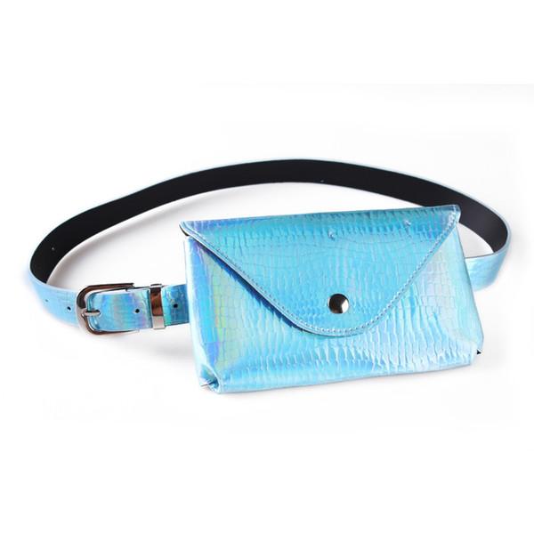 Mulheres Belt Bag sacos de cintura a laser de couro pacote deslumbrante Pure Ring PU Mensageiro Ombro peito Laser Belt Cross Body Purse GGA1673