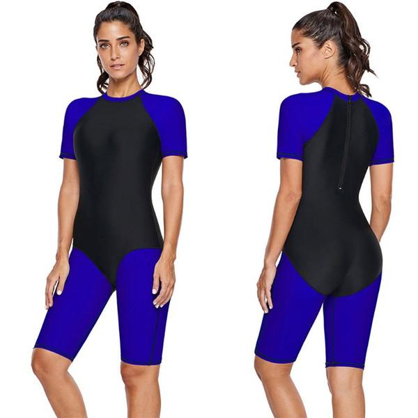 0a82afb2049 Womens Plus Size One Piece UV Rashguard Slimming Tankini Short Sleeve Round  Neck Color Block Boyshorts