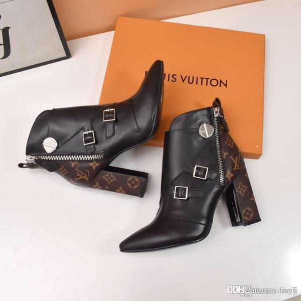 2020 donna di alta qualità di marca stivaletti moda tacchi scarpe scarpe in vera pelle stivali autunno inverno EMS DHL libero con scatola di scarpe 35-42