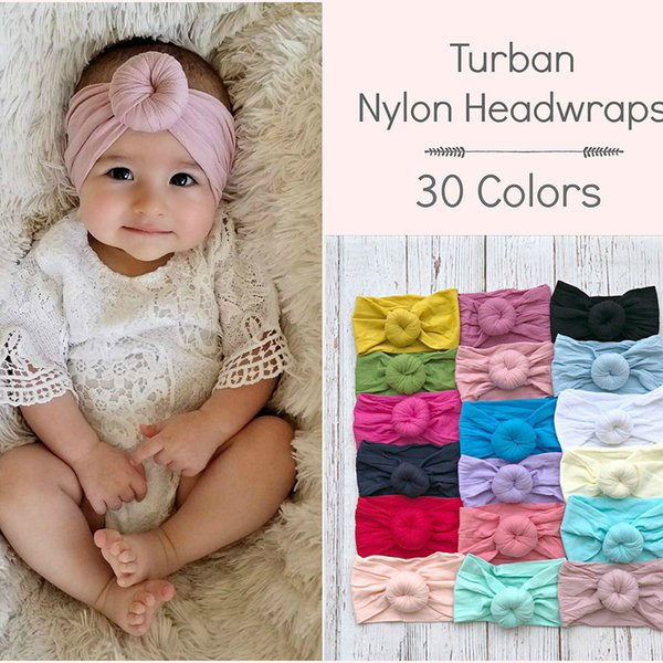 Fascia per capelli Fascia per neonato Morbida fascia in nylon con giromanica Nodi Fasce per capelli Accessori per capelli Boutique Store