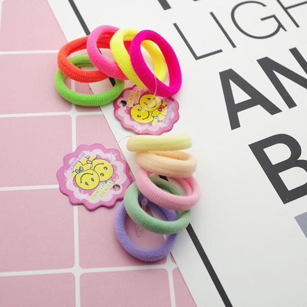5 pezzi ragazze 2,5 centimetri piccolo asciugamano corda per capelli fluorescente / luce di colore solido alta elasticità ponytail arrotolato titolare bambini