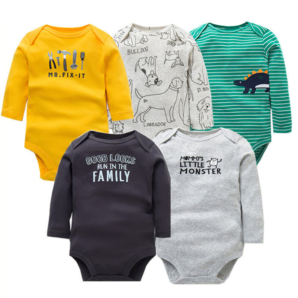 Spring Autumn Cotton Rompers Toddler Jumpsuit Long Sleeved Newborn Girl Boy Clothe Cartoon Infant Baby Clothing Q190520