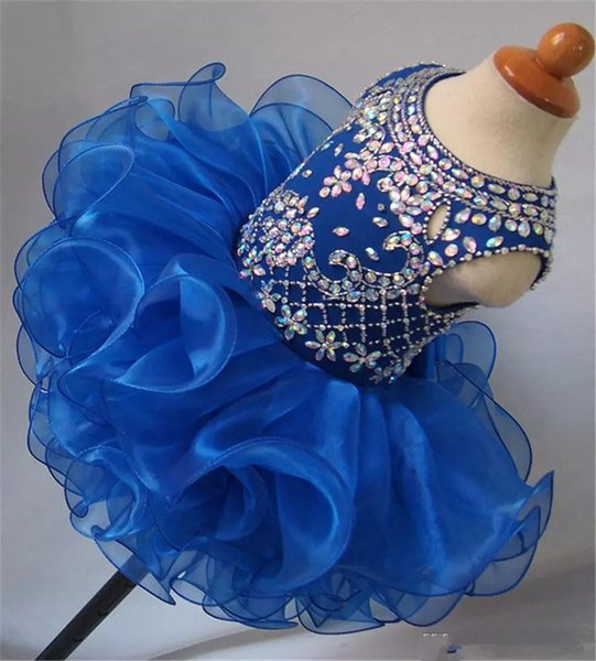 2019 Cute Beaded Diamond Glitz Girls National Pageant Cupcake Dresses Infant Tutu Gowns Toddler Baby Girls Ruffled Mini Birthday Gowns