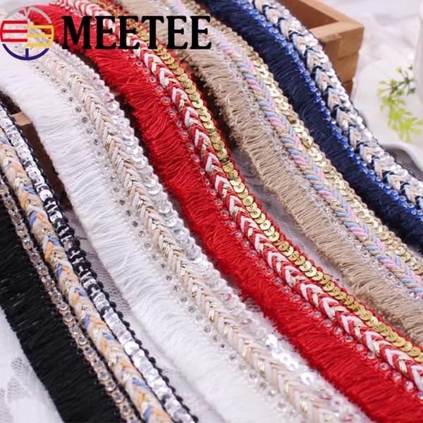 Lentejuelas Rhinestone adornos de encaje moda trenzado franja borla correas tela bricolaje ropa bolsa accesorios de costura Craft KY883