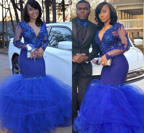 Black Girls Sexy Royal Blue Prom Dresses Sheer Long Sleeve Appliques Beads Mermaid V Neck Ruched Tulle Skirt Long Evening Gowns BC1772