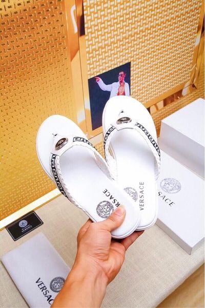 New fashion classic men's flip-flops premium leather indoor beach hotel men's flip-flops size 38-44