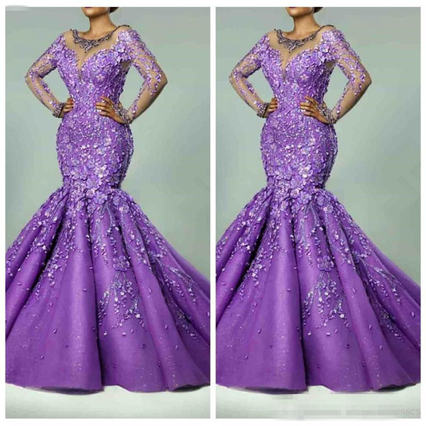 2019 Sheer Long Sleeves Slim Mermaid Prom Dresses Handmade Flowers Adorned Formal Evening Party Gowns Maxi Robe De Soiree Custom Beaded