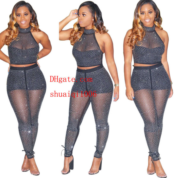 Two Piece Set crop top and perspective Pants Women Shining Rhinestone Casual Outfit Sports Suit Women Sweatsuits Clothing