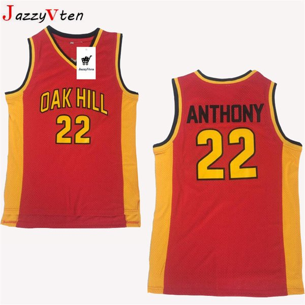 Men #33 Kevin Durant Oak Hill Jersey Yellow Red #22 Carmelo Anthony High School College Durant Basketball Jerseys Breathable uniform shirts