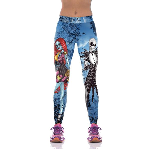 Halloween Jack Skellington Leggings Women The Nightmare Before Christmas Plus Size Pants Digital Print Fitness Leggins