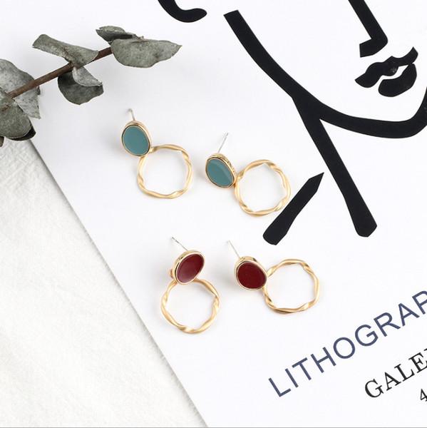 Aiguille en argent 925, boucle d'oreille à la mode pour femme, vieux, huile de chanvre matte avec contour d'oreille ronde et pendentif géométrique.