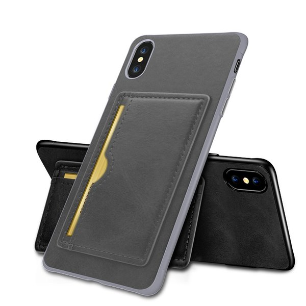 Leather case for iphone XR XS MAX X 6S 7 8 plus new luxury cell phone case credit card slots bag for Samsung S8 S9 Plus Note 8 9 kickstand