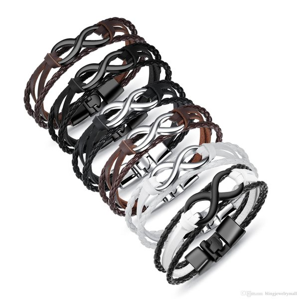 2018 New Infinity Men Bracelet&Bangle Hand-woven Wrap Leather Bracelet Rope Chain Bracelet Men Jewelry pulseras PH1261