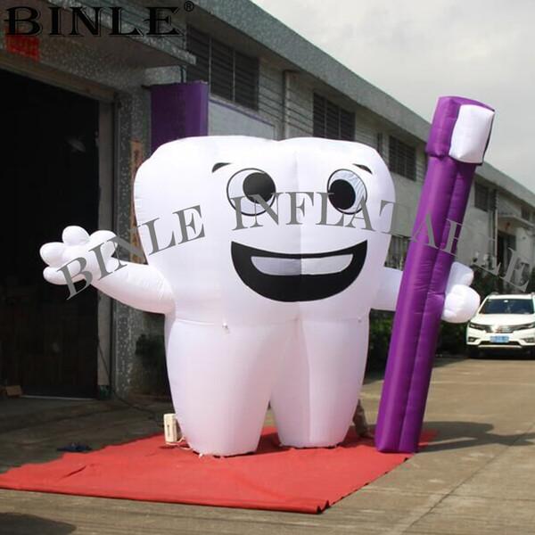 Bella gigante bianco palloncino gonfiabile denti con spazzolino per la pubblicità dell'evento