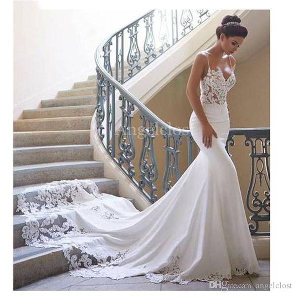 best selling Hot Sale Mermaid Wedding Dresses 2019 Spaghetti Strap Sleeveless Long Train Lace Appliques Modest Satin Beach Bridal Gowns Custom Cheap