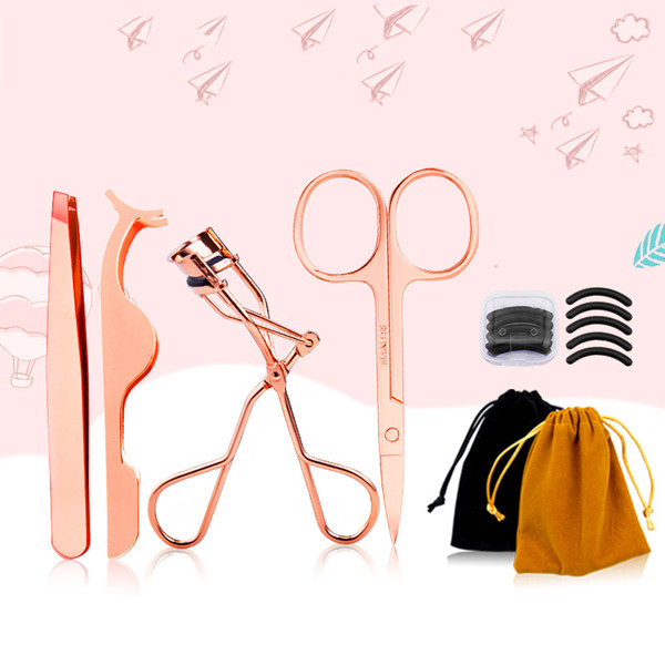 top popular 4pcs Eyes Eyelash Eyebrow Scissor Tools Eyelashes Curler Lash Clipper Beauty Colorful Make Up Tool Makeup Accessories 2021