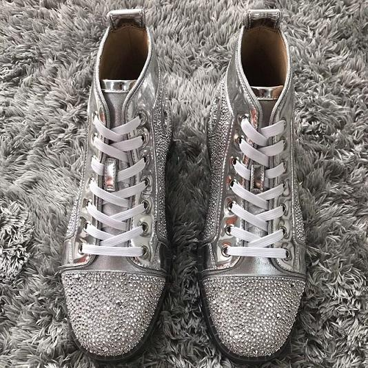 Lüks Sneakers Ayakkabı Erkekler Için, kadınlar Rhinestone Kırmızı Alt Yüksek Üst Kristal Rahat Yürüyüş Yüksek top Eğlence Daireler Dünya Çapında Teslimat